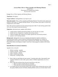 How To Write An Agenda Of A Meeting Example Of Any Minutes A Meeting Examples Taken At Pdf