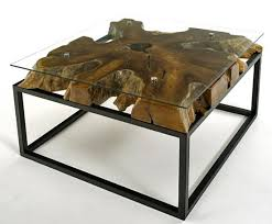 Rustic Contemporary Coffee Table With Glass