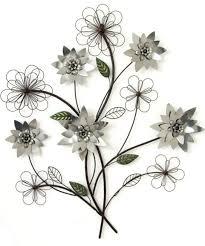 metal wall art silver flower branch 67