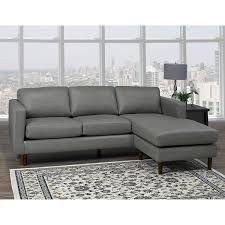 com des mid century modern grey top grain leather tufted sectional sofa kitchen dining