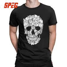 Design Skull T Shirt Us 10 98 39 Off Cat Skull Design Horror Skull T Shirt Halloween Men Short Sleeve Men Terror T Shirt Cotton High Quality Round Neck Tees Printing In