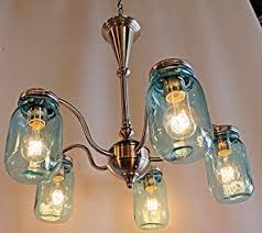 Mason Jar Lighting, 5 light brushed nickel chandelier with blue mason jar  glass