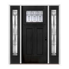 pella craftsman decorative glass left hand inswing painted fiberglass prehung entry door with sidelights and insulating core common 60 in x 80 in
