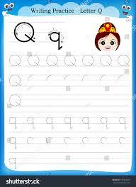 Writing practice letter Q printable worksheet with clip art for preschool /  kindergarten kids to improve