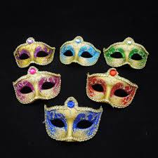 Miniature Masquerade Masks Decorations 60pcs Painted Cosplay Mini Masquerade Masks Crystal Half Face 20