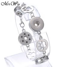 10pcs lot mrs win snap jewelry whole bracelet bangles bohemian alloy dog paw 18mm snap bracelet