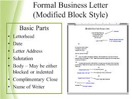 Modified Block Style Business Letter Definition On Format Of A Block