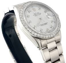 diamond rolex datejust watch mens 36mm oyster band white mother retail price 9 500 00