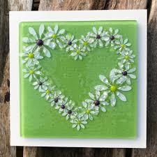 fused glass daisy heart design wall