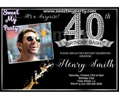 40th Birthday Invitations 40th Birthday Party Invitation With Photo Silver Diamond 40th Birthday Invitation 15ab