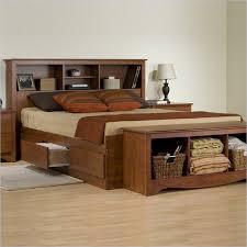 Queen Bookcase Platform Storage Bed in Cherry