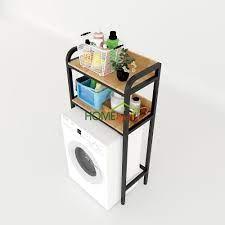 Kệ máy giặt 2 tầng gỗ cao su khung sắt 72x40x151cm KMG68009