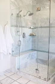 gray glass mini brick shower border tiles with stacked glass corner shelves