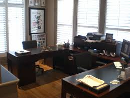 adorable office decorating ideas shape. Attractive Dark Brown Painted Wooden U Shape Office Table And Adorable Small Home Creative Space Saving Ideas Decorating D