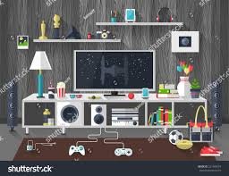 creative living furniture. flat modern design vector illustration concept of creative living room workspace workplace with tv set furniture