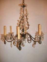 bronze and crystal light fixture with smoke glass drops for