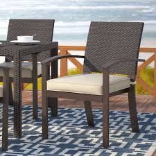 beachcrest home levey stacking patio dining chair with cushion reviews wayfair