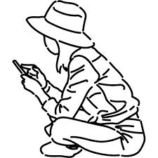 シンプルイラスト スマホを見る女性線画 無料イラストpowerpoint