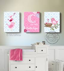 zoom on etsy personalized baby wall art with girls wall art birdies canvas art baby nursery decor