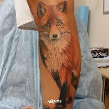 фото татуировки лиса в стиле реализм татуировки на икре