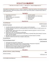 sample aviation resume templates resume sample information sample resume template for aircaft mechanic experience