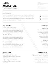 Architect Resume Minimalist Cv One Page Resume Professional