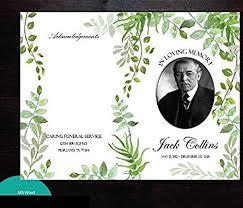 microsoft office funeral program template amazon com greenery funeral program template ms word editable