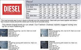 Diesel Jeans Men Size Chart