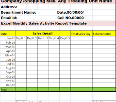 sales activity report excel monthly sales activity report template free report templates