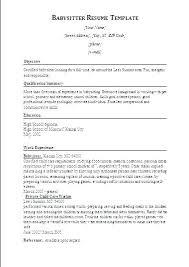 Babysitting Resume Template Enchanting Nanny Objective Examples Resume Sample Babysitting Templ