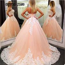 peach wedding dress. Strapless Sleeveless Lace Appliques Peach Wedding Dresses 2017 With