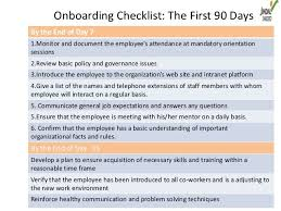 Onboarding Checklist The First 90 Daysby The End Of Day 71