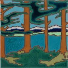 mountain lake hand painted art tile