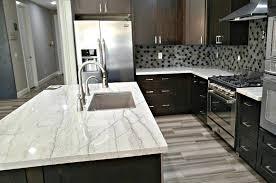 dark kitchen white quartz countertops cost
