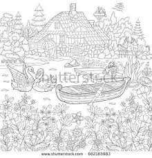 coloring book page of rural landscape flower meadow lake farm house ducks kitten swans horses frog storks freehand drawing for antistress