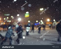 Snowfall Blizzard Lights Blurred Picture Park Snowfall Lights Stock Photo Edit Now