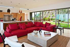 blooming red couch decor living room