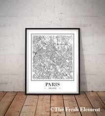 paris map print digital paris city map of paris print intended for map of paris