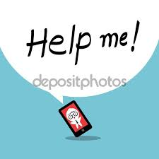 help me smartphone addiction concept cartoon ilration