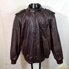vtg 80s members only cafe racer leather motorcycle biker jacket 2x l brown