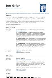 Professional Game Design Resume Game Designer Resume