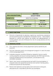 Director Of Nursing Job Description QUALITY NURSE Job Description 5