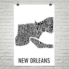 new orleans typography neighborhood map art city print new orleans wall art new orleans on map of new orleans wall art with new orleans typography neighborhood map art city print new orleans