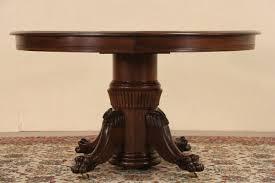 round oak antique 1900 dining table lion paw pedestal