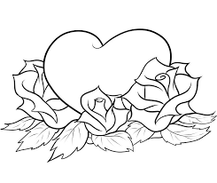 heart with roses coloring pages gallery 002
