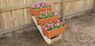 garden rack. DIY Stepped Plant Container Display Rack Made From Stair Stringers. Garden E
