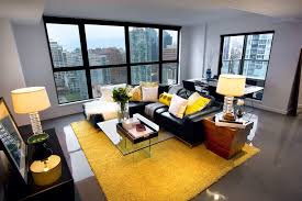 black leather sofa with contemporary rugs living room modern and yellow rug