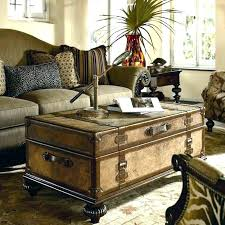 wooden chest coffee table antique trunk oak