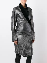 ann demeulemeester shawl collar wrap coat 070 silver women clothing leather coats ann demeulemeester sneakers