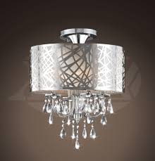 natalia chrome and crystal 4 light flushmount chandelier 21 5 h x 16